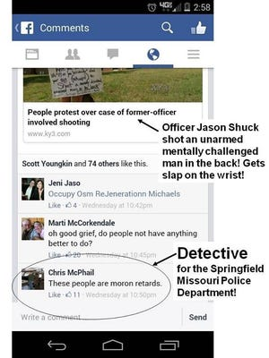Screen shot of Facebook comments with annotation from officer's critic.