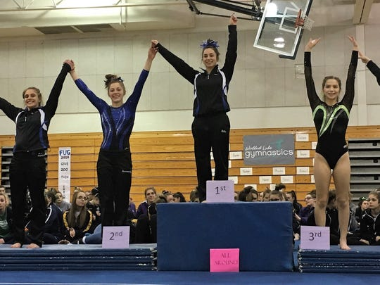 The Division 2 all-around placers at the recent regional meet included Elisa Bills (first), Kacey Noseworthy (second), Nicole Graham (third), Ava Farquhar (fourth), Allison Schultz (fifth) and Sydney Schultz (sixth). All are from Farmington except for Graham who is a member of the Huron Valley United team.