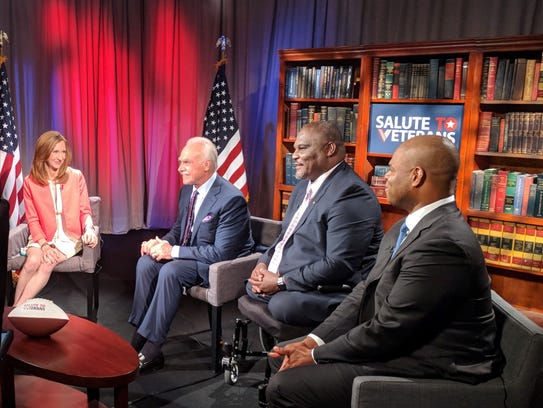 Veterans Rocky Bleier, Greg Gadson and Bryce Fisher on the set of the Salute to Veterans Series. Salute to Veterans Series Airs on Memorial Day, offers insightful discussion, resources and solutions for the ongoing issues our military veterans face daily.