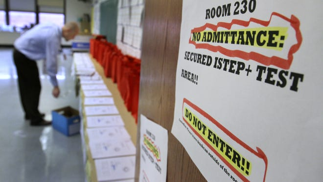 ISTEP tests are kept in a locked room at Emma Donnan Middle School, Friday, March 2, 2012.