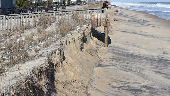 Beach erosion in downtown Bethany Beach.