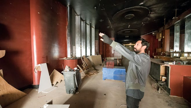 Ryan Goldhammer gives a tour of the old Trocadero Room in the Siegel Suite's El Cortez in downtown Reno. The Trocadero Room was a bar and lounge that opened in 1941. It was later converted to a small bar-top casino. Goldhammer and his partners will reopen it in Winter 2017 as a nightclub, bar and music venue.