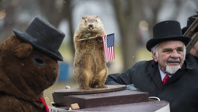 Myerstown's Uni predicted an early Spring during the annual Groundhog Day event at the Myerstown Recreation Park on Thursday, Feb. 2, 2017. While he predicted an early Spring, Uni suggested keeping the snow shovels on the back porch.  Edwin Engle, president of the Union Kanaal Grundsau Lodsch #17 of Eastern Lebanon County said Uni's is always right and has always been right, but the weather was wrong three or four years.  The event is hosted by Union Kanaal Grundsau Lodsch #17 of Eastern Lebanon County a group of men dedicated in persevering their Pennsylvania Dutch roots have hosted this event since 1981.