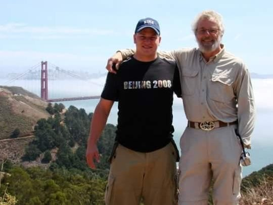 Shahn Kariger and his father, John Kariger, pose in San Francisco. John Kariger disappeared in 2009 while kayaking across Death's Door.