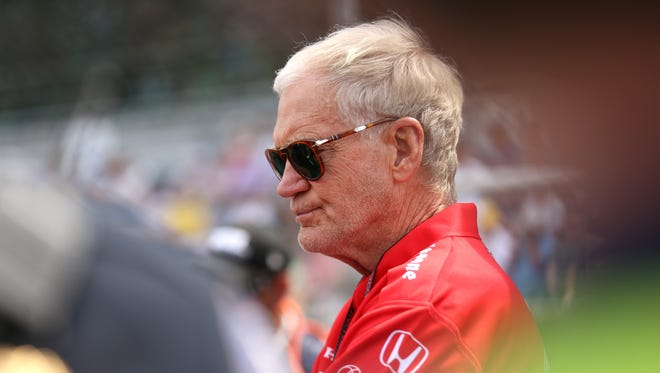 David Letterman in his pit area before the start of the 99th running of the Indianapolis 500 May 24, 2015.