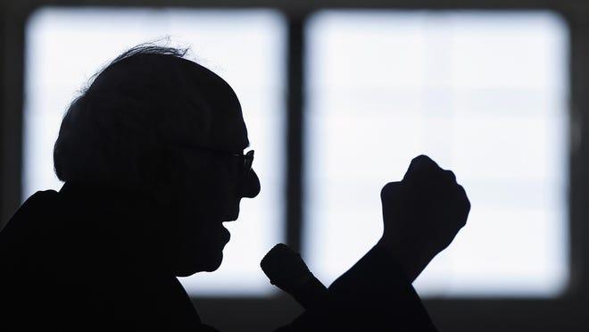 Democratic presidential candidate, Sen. Bernie Sanders, I-Vt. gestures as he speaks during a campaign stop, Thursday, Jan. 21, 2016, in Peterborough, N.H. (AP Photo/Matt Rourke)