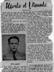 An article describes Max Loewy's death after a battle