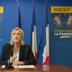 French far-right leader Marine Le Pen speaks during a press conference at the National Front party headquarters in Nanterre, outside Paris, Friday, June 24, 2016. Le Pen says pro-independence movements in the European Parliament will meet soon to plan their next move after the British vote to leave the European Union.