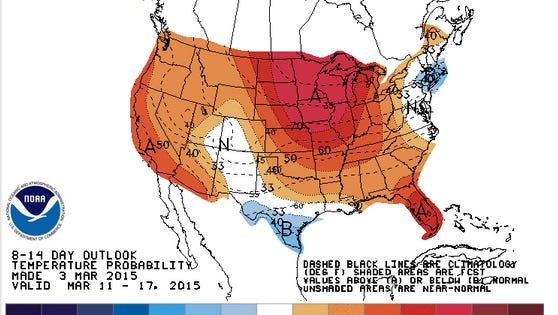 Above-average temps are on the way in mid-March. The darker the red, the more above-average temps will be.