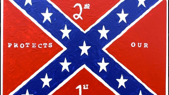 "George Zimmerman painted this Confederate flag image to support a Florida gun shop owner that declared a ""Muslim-free zone."""