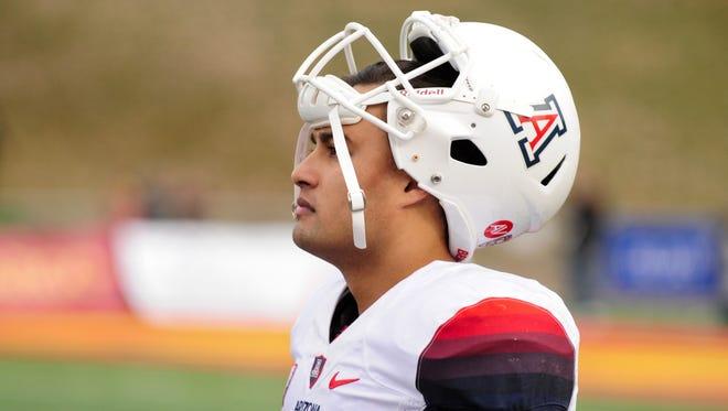 Dec. 19, 2015; Albuquerque, N.M.; Arizona Wildcats quarterback Anu Solomon looks on during the second half against the New Mexico Lobos in the 2015 New Mexico Bowl at University Stadium.