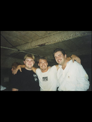 DJ Scott Durand, left, poses for a photo with friends