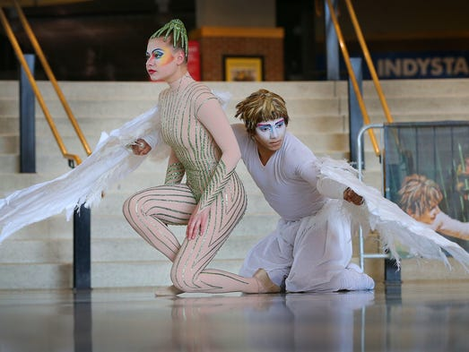 "Cirque du Soleil is bringing their show ""Varekai"" to Bankers Life Fieldhouse from July 24th to 27th for six shows. Here performers Alona Zhurvel and Raphael Botelho give a sneak peek of their show Tuesday morning at Bankers Life Fieldhouse. Matt Kryger / The Star"