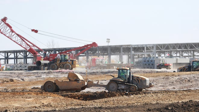 Construction continues on the Microsoft data center on Tuesday in West Des Moines.