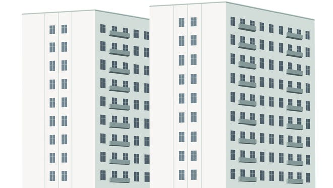 An illustration of an apartment complex.