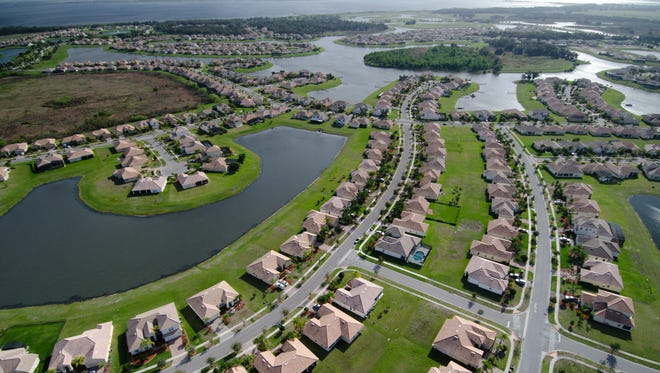Suburban developments sprawl out from Orlando near Kissimmee in the Everglades Headwaters.