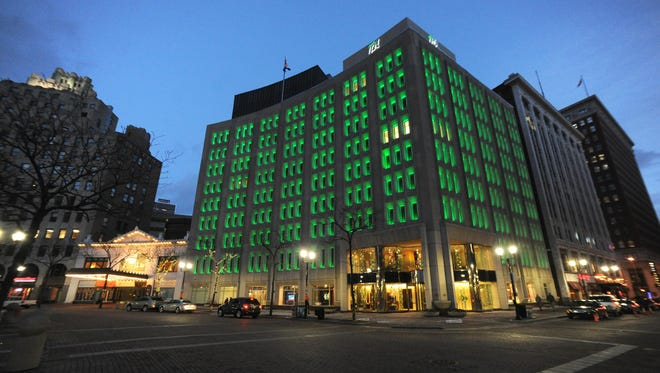 The Indianapolis Power & Light building on Monument Circle at Meridian Street.