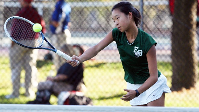 Greater Middlesex Conference girls tennis finals held at Thomas Edison Park in Edison on Tuesday October 20, 2015.Here East Brunswick's Jennifer Chen returns a volley to South Brunswick High School's Rashmi Venkatarama  (not seen) during their first single championship match.