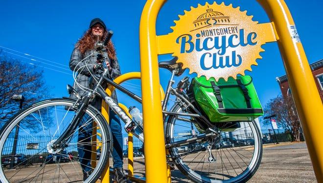 Deana Acklin, shown on Friday December 18, 2015, helped spearhead the effort to get bike racks in downtown Montgomery, Ala.