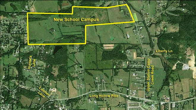 This map shows the land proposed for a new K-12, three-school campus on Upper Station Camp Creek Road, one mile north of Long Hollow Pike that will house 4,500 students, Director of Schools Del Phillips said.