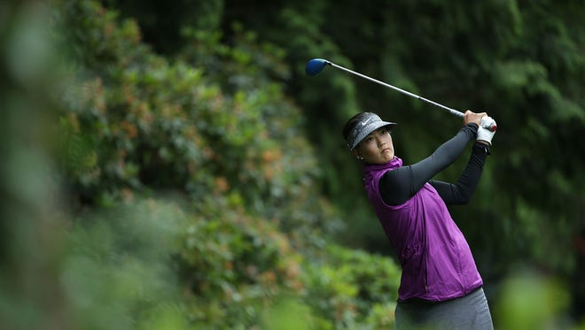 Michelle Wie hits a tee shot on the 11th hole during the second round of the KPMG Women's PGA Championship at the Sahalee Country Club.