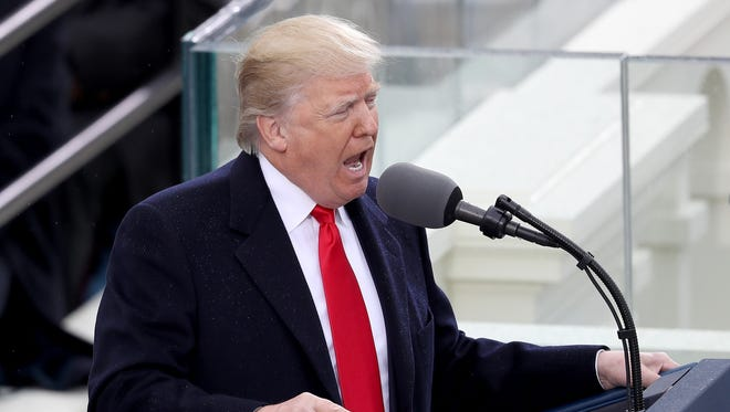 President Donald Trump delivers his inaugural address on the West Front of the U.S. Capitol on Friday, January 20, 2017, in Washington, DC. In today's inauguration ceremony Donald J. Trump becomes the 45th president of the United States.