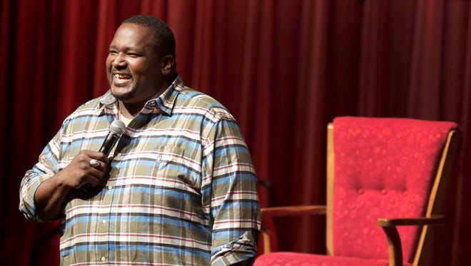 """Actor Quinton Aaron talks about his movie, """"Halfway,"""" which was shown Friday night as part of the Wildwood Film Festival in Appleton."""