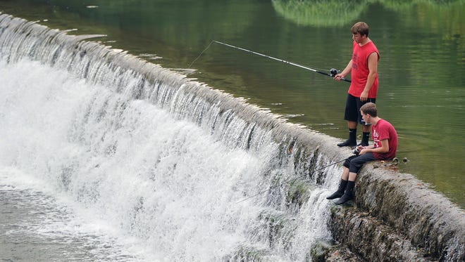 When the water is calm, low-head dams like this one on the Big Blue River in Edinburgh, Ind., are popular fishing and swimming spots. But when the water is high, these dams turn deadly. In 2014, two teens drowned and a third suffered brain damage at this same spot.