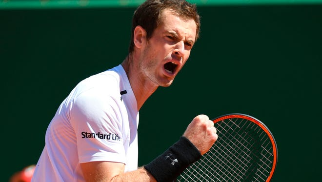 Britain's Andy Murray celebrates during his match against Luxembourg's Gilles Muller at the Monte Carlo Masters.