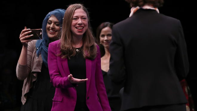 Chelsea Clinton, vice chairwoman of the Clinton Foundation, participates in the opening plenary of the Cooperative for Assistance and Relief Everywhere (CARE) 2017 National Conference May 22, 2017 in Washington, D.C.