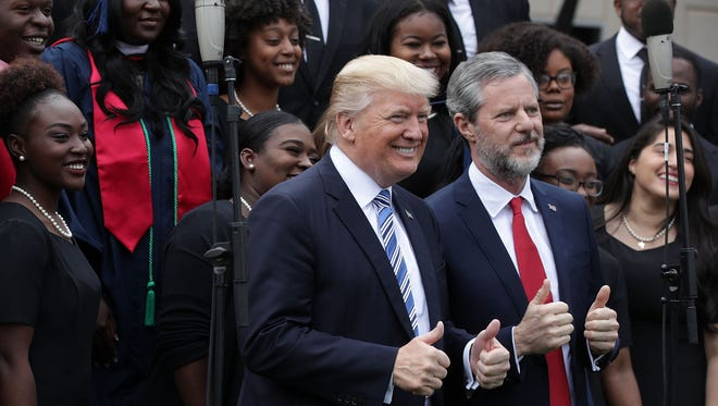 President Trump and Liberty University President Jerry Falwell Jr. on May 13, 2017.