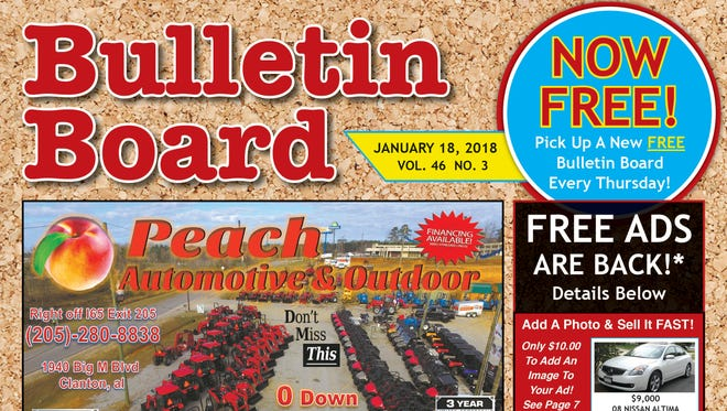 The community buy-sell-trade publication The Bulletin Board will be free to pick up starting January 18.