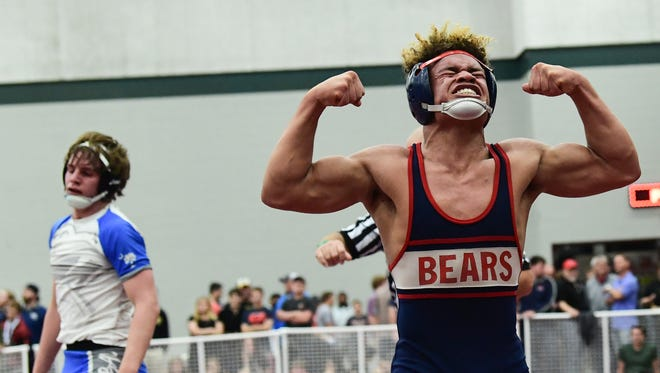 Bryson Scott (Belton-Honea Path) beat Spencer Wall (Cane Bay) to win the Class 4A 160 pound division at the SCHSL Wrestling State Championships in Anderson on Saturday.