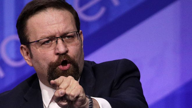 Former Trump administration aide Sebastian Gorka, seen here in 2017, is now banned from YouTube after pushing false claims about the 2020 election.