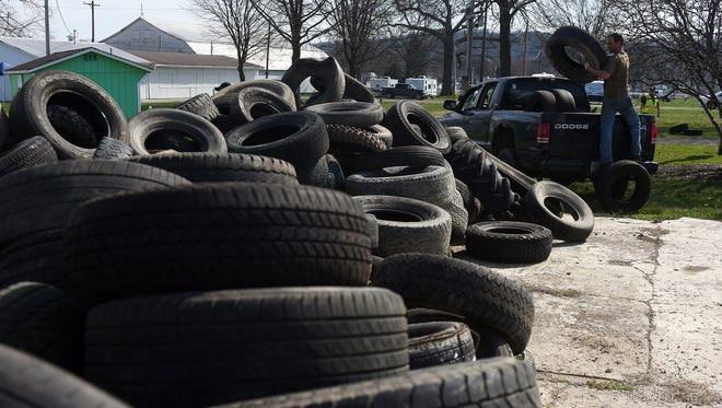 Improperly discarded tires can pose a fire risk and other hazards.