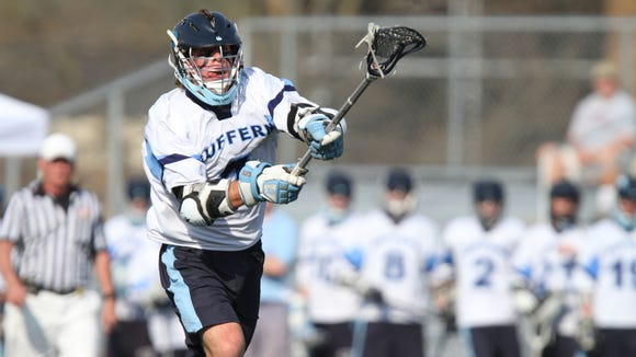 Former Suffern standout Kevin McNally, pictured here during a varsity game against North Rockland in 2012, recently joined the active roster of the Chesapeake Bayhawks in the MLL.