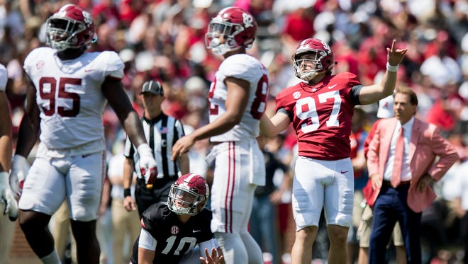 Alabama kicker Joseph Bulovas (97) kicks a field goal during the A-Day Game at Bryant-Denny Stadium on the University of Alabama campus in Tuscaloosa, Ala. on Saturday April 21, 2018.