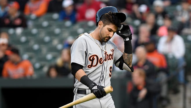 Tigers right fielder Nicholas Castellanos reacts after striking out in the first inning April 27, 2018 in Baltimore.