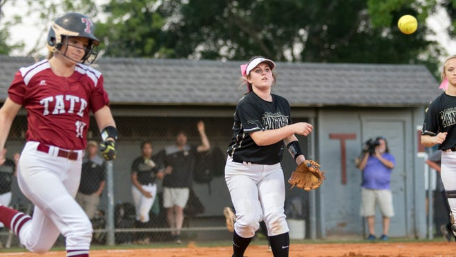 Pitcher Alyssa Hudson (18) tosses to first for an out during the region 1-7A quarterfinal softball game between Tate and Milton high schools at Tate High School on Wednesday, May 2, 2018.