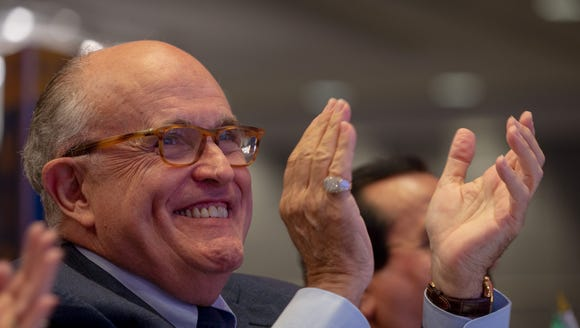 Rudy Giuliani attends the Conference on Iran on May