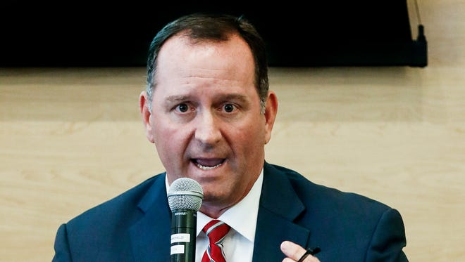 Shelby County Mayoral candidate David Lenoir takes part in the NAACP Memphis Branch's forum at the National Civil Rights Museum