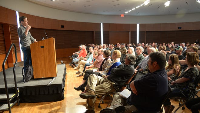Author and TV/podcast host Steven Rinella discussed hunting with a packed room of 300 on April 14. at the University of Wisconsin-Madison.