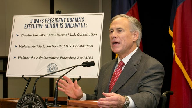 Texas Attorney General and Gov.-elect Greg Abbott speaks against President Obama's immigration order.