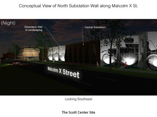 View of proposed Oldsmobile  image from Malcolm X Street