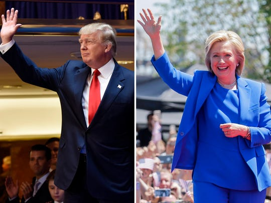 Donald Trump and Hillary Clinton at their respective
