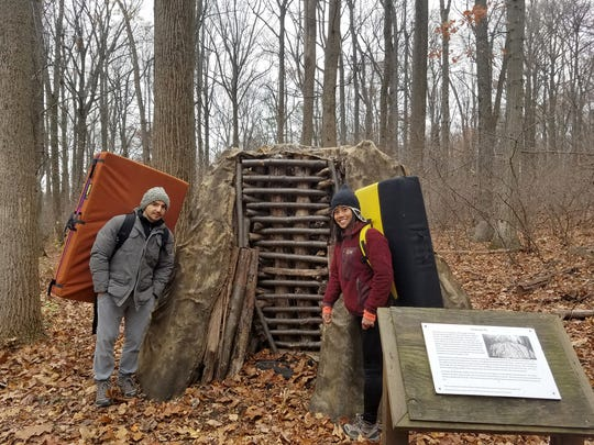 George Progulakis and Julia Jen, armed with boulder pads pose for a photograph before getting lost at the boulders section of Clarence Schock Memorial Park near Mt. Gretna on Thanksgiving 2016. They were billed for being rescued.