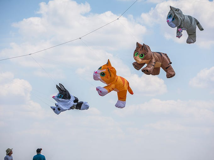 Locals attend the Ansel Toney Kite Festival at the