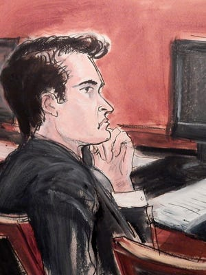 This courtroom sketch shows Ross William Ulbricht listening to opening arguments in a criminal trial where he is charged with operating the Silk Road darknet drug-trafficking website.