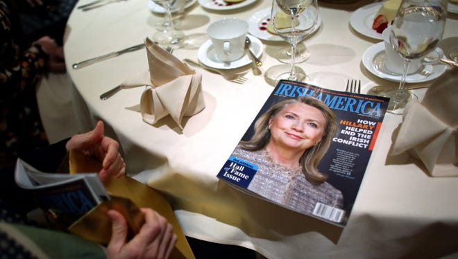 The Irish America Hall of Fame inducts former secretary of State Hillary Clinton on Monday in New York city.