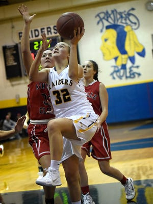 Raider Amanda Smith drives to the basket against the Dutchmen Tuesday evening, Jan. 2. The Raiders topped Annville-Cleona 53-23.
